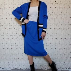 Vintage 80s Regal Royal Blue 2 PC Skirt Set
